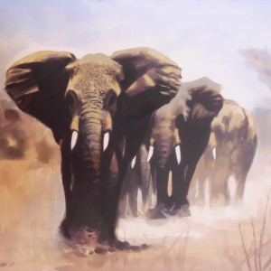 Elephants. Watercolour 24 x 18 cm