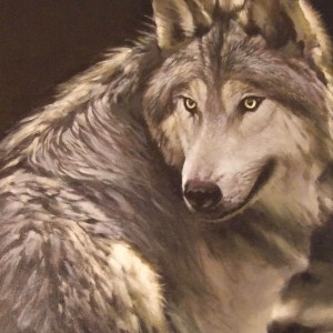 Grey Wolf. Oil On Canvas 50 x 35 cm