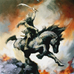 Mongol Warrior (Unfinished) Oil On Panel 50 x 50 cm