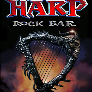 The Harp Rock Bar Logo. Gouache On Paper With Photoshop